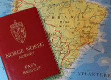 Passport and map stock image