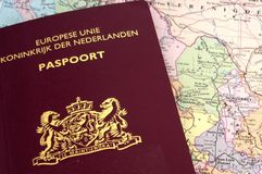 Passport on map Stock Image