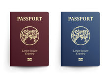 Passport With Map. Asia. Realistic Vector Illustration. Red And Blue Passports With Globe. International Identification Stock Photo