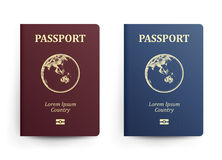 Passport With Map. Australia. Realistic Vector Illustration. Red And Blue Passports With Globe. International Stock Photography