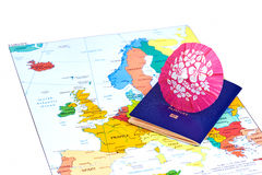 Passport and map of Europe. Travel concept. Stock Photography