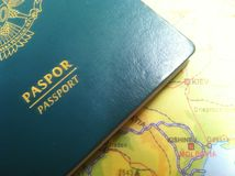 Passport and Map, Illustration for Vacation or Business Trip. Photo Passport and Map, Illustration for Vacation or Business Trip royalty free stock images
