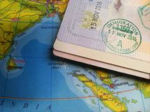 Passport and Map, Illustration for Vacation or Business Trip. Photo Passport and Map, Illustration for Vacation or Business Trip stock images