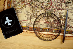 Passport and map Royalty Free Stock Photo