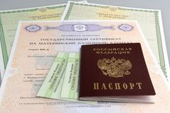 Passport with maternal, birth and insurance pension certificates Stock Image