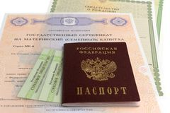 Passport with maternal, birth and insurance pension certificates Royalty Free Stock Images