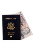 Passport with Mexican Money. In it Royalty Free Stock Image