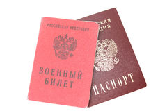 Passport and military ID card Royalty Free Stock Image