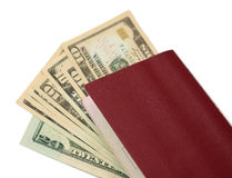 Passport Money. Passport and American Money on a white background (isolated Royalty Free Stock Photos