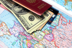 Passport with the money Royalty Free Stock Photo