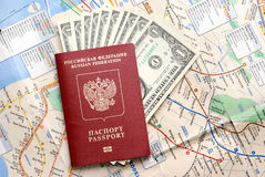 Passport with the money Stock Images
