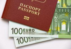 Passport and Money. Russian passport and Euro Currency Stock Photo