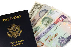 Passport with Money. Passport with Several Types of International Money Royalty Free Stock Photo