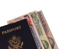 Passport with Money. Passport with Several Types of International Money Stock Photos