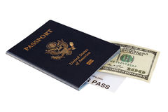 Passport and money Stock Photo