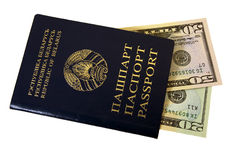 Passport and money. The Belarus passport in which the American dollars lie Royalty Free Stock Images