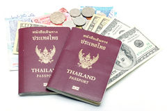 Passport and Money Stock Photos