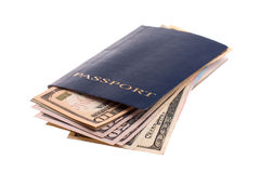 Passport with money. Isolated over white background Stock Photography
