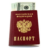 Passport with money Stock Photo