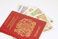 Passport and money Stock Image