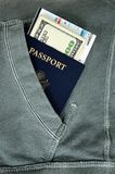 Passport with money and boarding pass Stock Photos