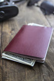 Passport and  money in close up. Royalty Free Stock Images