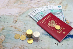 Passport, money and compass. Royalty Free Stock Image