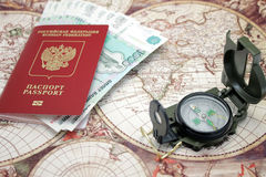 Passport, money and compass. Stock Image