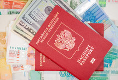Passport with money dollar euro RUR Stock Photos