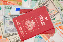 Passport with money dollar euro RUR Royalty Free Stock Photography