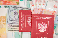 Passport with money dollar euro RUR Stock Photography