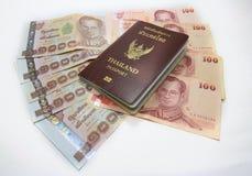 Passport,money  isolated on white background Royalty Free Stock Images