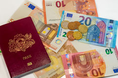 Passport and money - ready to travel anywhere stock photos
