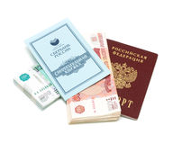 Passport, money and savings book on a white background Stock Photo