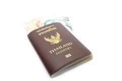 Passport with money Stock Photography