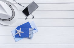 Passport and money and tickets for the rest. Still life of the traveler Royalty Free Stock Photos