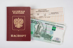 Passport, money and train ticket, top view, white background Stock Photos