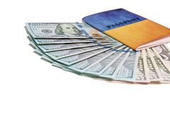 Passport and money. Travel expenses concept uncropped on white background. Money from different countries royalty free stock image