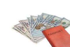 Passport and money. Travel expenses concept uncropped on white background. Money from different countries stock photo