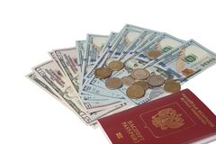 Passport and money. Travel expenses concept uncropped on white background. Money from different countries royalty free stock photography