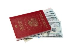 Passport and money. Travel expenses concept uncropped on white background. Money from different countries stock photos