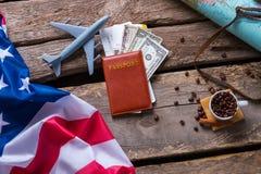 Passport near US flag. Stock Images