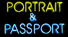 Passport Neon Sign. Portrait and Passport neon sign Royalty Free Stock Images