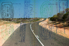 Passport over Australia scenic destination Royalty Free Stock Photos