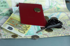 Passport Over a Map Royalty Free Stock Image