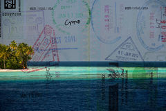Passport over tropical paradise beach Royalty Free Stock Image