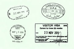 Passport Page. With arrival & departure stamps from various countries Royalty Free Stock Photos