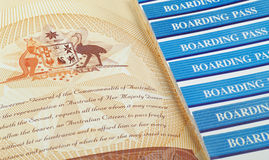 Passport page and boarding pass Royalty Free Stock Images