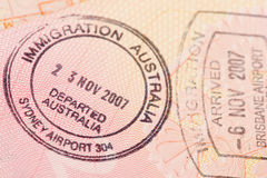 Passport page with the immigration control of Australia stamps. royalty free stock images