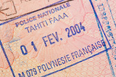 Passport page with the immigration control of French Polynesia stamp. Royalty Free Stock Images
